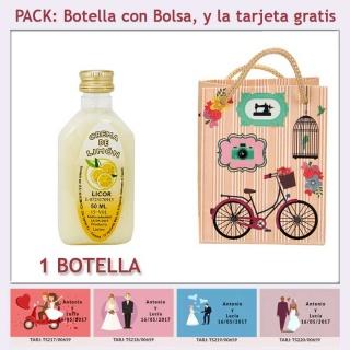"""Botellita de Licor de Crema de Limón con bolsa """"fashion con bicicleta"""" y tarjeta"""