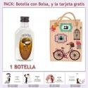 "Botellita de Ron Coco con bolsa ""fashion con bicicleta"" y tarjeta"
