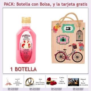 "Botellita de Licor de Fresas con Nata con bolsa ""fashion con bicicleta"" y tarjeta"