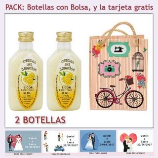 """2 Botellitas de Licor de Crema de Limón con bolsa """"fashion con bicicleta"""" y tarjeta"""