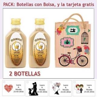 "2 Botellitas de Licor Crema con bolsa ""fashion con bicicleta"" y tarjeta"