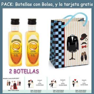 "2 Botellitas de Licor de Mandarina con bolsa ""charlestón"" y tarjeta"