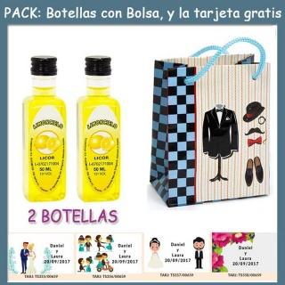 """2 Botellitas de Limoncielo con bolsa """"charlestón"""" y tarjeta"""