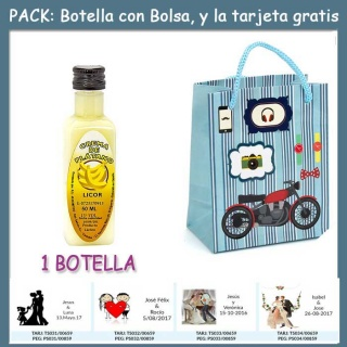 "Botellita de Licor de Crema de Plátano con bolsa ""con moto roja"" y tarjeta"