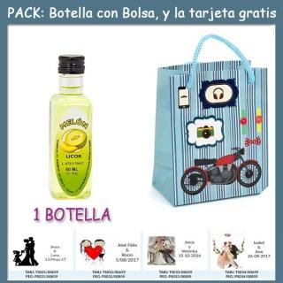 "Botellita de Licor de Melón con bolsa ""con moto roja"" y tarjeta"