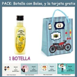 """Botellita de Licor Crema de Limóncon bolsa """"con moto roja"""" y tarjeta"""