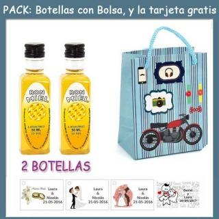 """2 Botellitas de Ron Miel con bolsa """"con moto roja"""" y tarjeta"""