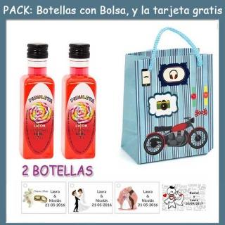 """2 Botellitas de Licor de Piruleta con bolsa """"con moto roja"""" y tarjeta"""