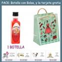 """Botellita de Licor de Piruleta con bolsa """"fashion con mujer"""" y tarjeta"""