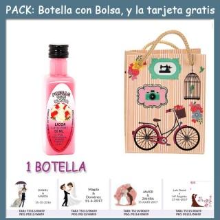 "Botellita de Licor de Fresas con Nata con bolsa ""fashion con bici"" y tarjeta"
