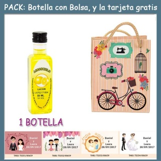 """Botellita de Limoncielo con bolsa """"fashion con bici"""" y tarjeta"""