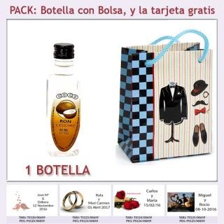 "Botellita de Ron de Coco con bolsa ""charlestón"" y tarjeta"