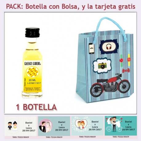 """Botellita de Ron Miel con bolsa """"con moto roja"""" y tarjeta"""