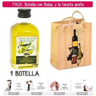 "Botellita de Aceite de Oliva Virgen Extra con bolsa ""bodegón"" y tarjeta"