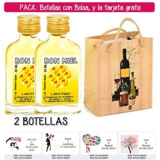 "2 Botellitas Petaca de Ron Miel con bolsa ""bodegón"" y tarjeta"