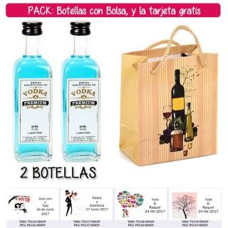 """2 Botellitas 60ml de Vodka Premium con bolsa """"bodegón"""" y tarjeta"""