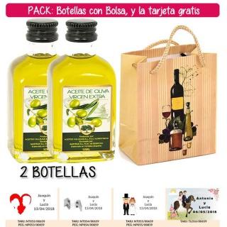 """2 Botellitas de Aceite de Oliva Virgen Extra con bolsa """"bodegón"""" y tarjeta"""