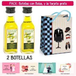"""2 Botellitas de Aceite de Oliva Virgen Extra con bolsa """"charlestón"""" y tarjeta"""