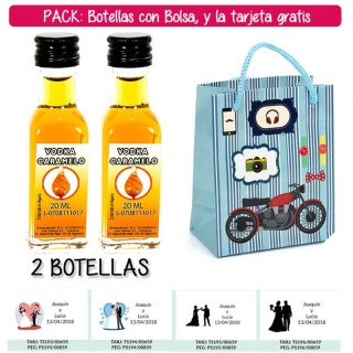 "2 Botellitas de Vodka Caramelo con bolsa ""con moto roja"" y tarjeta"