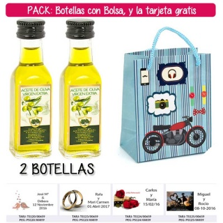 """2 Botellitas de Aceite de Oliva Virgen Extra con bolsa """"con moto roja"""" y tarjeta"""