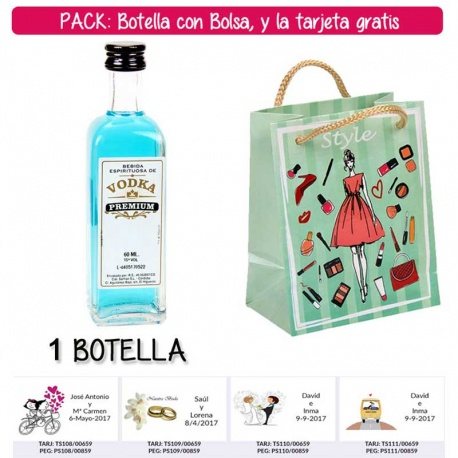 "Botellita 60ml de Vodka Premium con bolsa ""fashion con mujer"" y tarjeta"