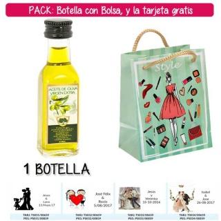 """Botellita de Aceite de Oliva Virgen Extra con bolsa """"fashion con mujer"""" y tarjeta"""