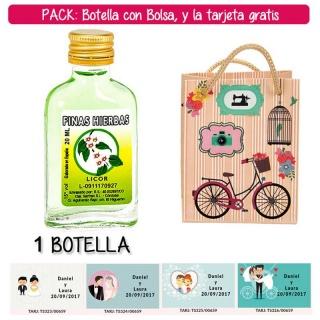 """Botellita Petaca de Licor de Finas Hierbas con bolsa """"fashion con bici"""" y tarjeta"""