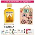 "Botellita Petaca de Vodka Caramelo con bolsa ""fashion con bici"" y tarjeta"