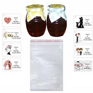 Tarro de miel bolsa celofán y tarjeta para regalos