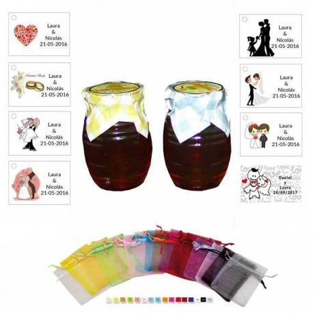Tarro de miel bolsa organza y tarjeta detalles boda