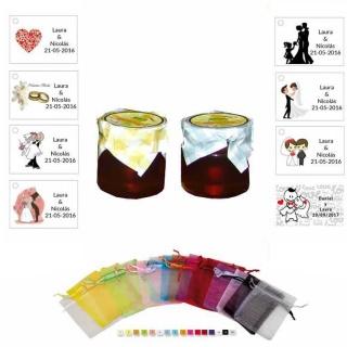 Miel bolsa organza y tarjeta para detalles de boda