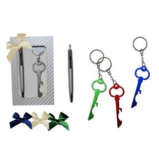 Estuche con lllavero destapador llave y boli + lazo tela (8509)