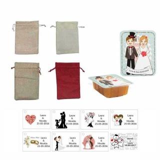 dulce membrillo 125gr boda con bolsa de asas y tarjeta