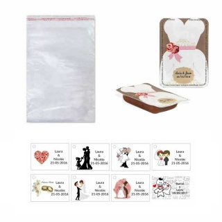dulce membrillo 50gr detalles novia con bolsa celofán y tarjeta