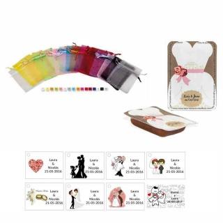 dulce membrillo 50gr detalles novia con bolsa organza y tarjeta