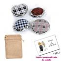 Espejos plateados con cuadros escoceses, con bolsa de saco marrón y tarjeta personalizada