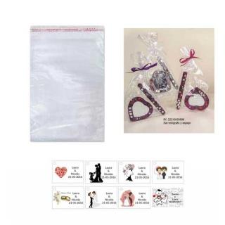 Espejo y boli en bolsa y tarjeta para regalos de boda