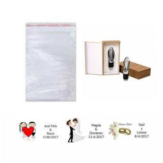 Estuche tapón de vino en bolsa y tarjeta para regalos de boda