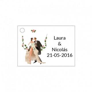 Tarjetita de boda con novios barata y original