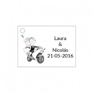 Tarjetita de boda novios en moto