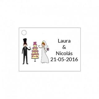 Tarjetita de boda novios tarta nupcial