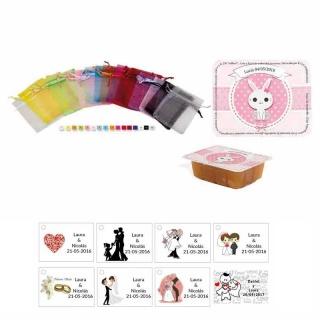 dulce membrillo 125gr niña bebe con bolsa organza y tarjeta