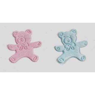 Pin oso pequeno azul y rosa