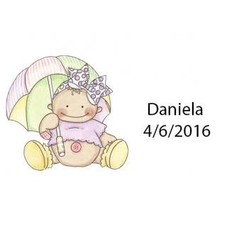 Tarjetita de bebe paraguas
