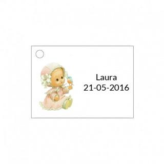 Tarjetita de bebé para niña con pajarito