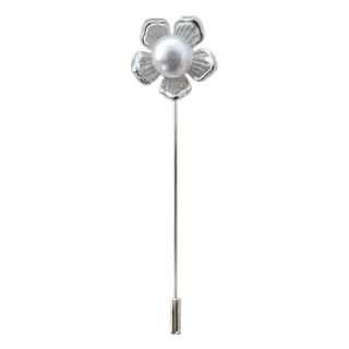 Alfiler flor perla.