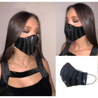 Mascarilla para mujer, en color negro con lentejuelas y mucho glamour