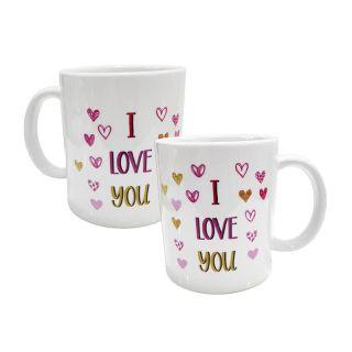 Taza amorosa de corazones I love You! no es personalizable