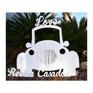 Fotocall de Recién Casados con forma de coche, en blanco