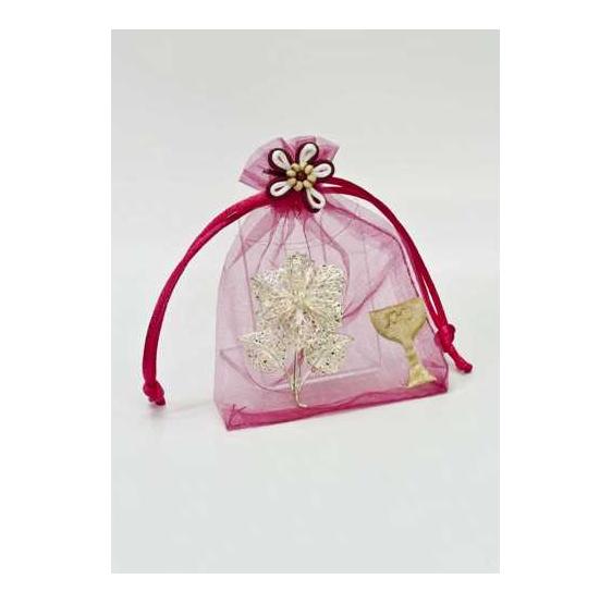 Broche filigrana en organza rosa con cáliz